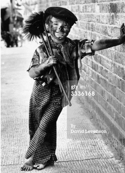 "East Street Sweep Credit: David Levenson / Stringer Caption: 18th August 1980: Four year-old Tommy Stafford dressed as a chimney-sweep for the fancy-dress competition at the East Street Market centenary celebrations, London. (Photo by David Levenson/Keystone/Getty Images). Can't count the nimber of times I've seen this pinned as ""Victorian""!!!"