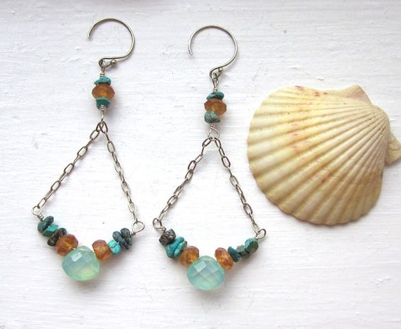 Aqua Blue Chalcedony Turquoise Dangle Earrings  by PATCHOULIBIRD, $35.00