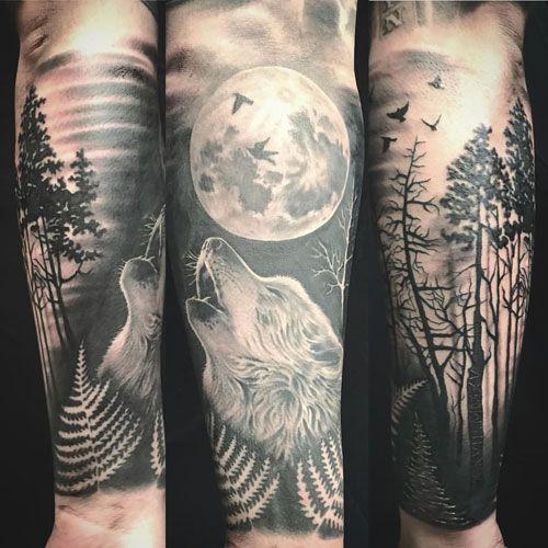 101 Best Wolf Tattoos For Men Cool Designs Ideas 2020 Guide Wolf Tattoo Sleeve Wolf Tattoos Men Forest Tattoo Sleeve