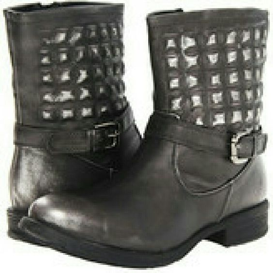"Report Asa distressed biker/ankle boot sz 5.5 Report Asa ankle boot.  Faded black color.  Under the surface ""quilted studs"" around ankle. Adjustable Buckle detail.  Side zip.  Gently worn.  Great condition.  Sz 5.5 Report Shoes Ankle Boots & Booties"