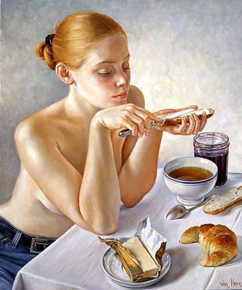 Thé et Croissant by Francine Van Hove (French Artist, b.1942):