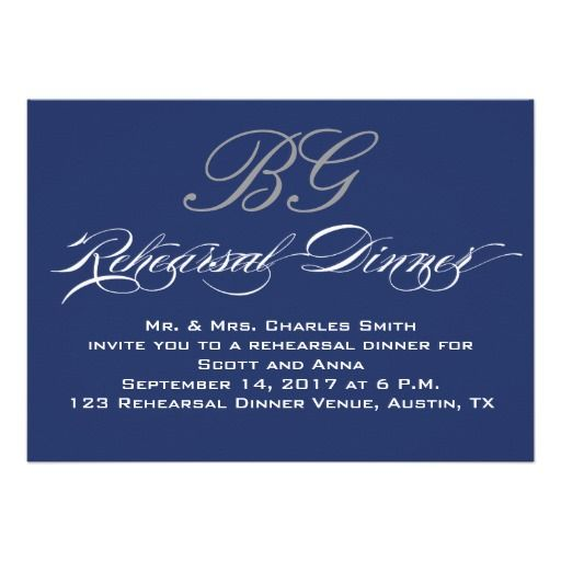 DealsRehearsal Dinner | Navy Blue Grey Initials Personalized Announcementonline after you search a lot for where to buy