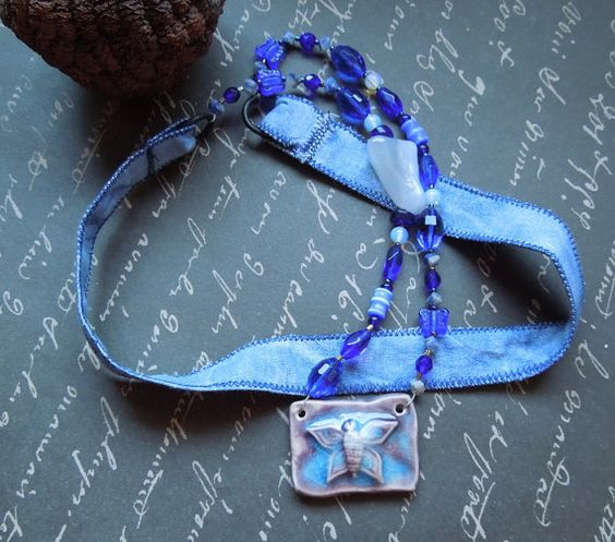 Bohemian Blue Fabric Necklace with Butterfly Ceramic Pendant