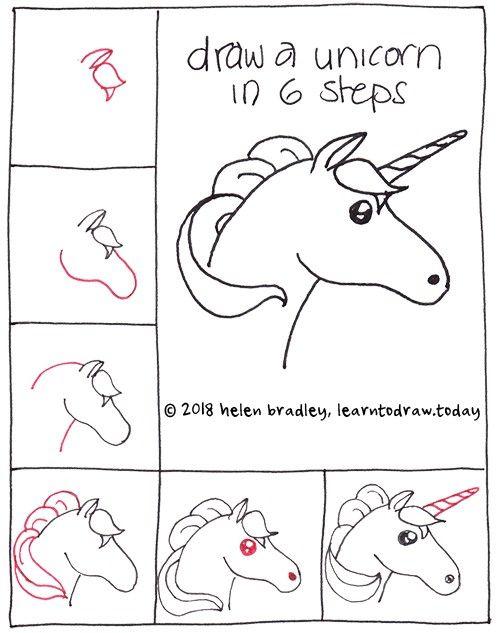 Cara menggambar unicorn