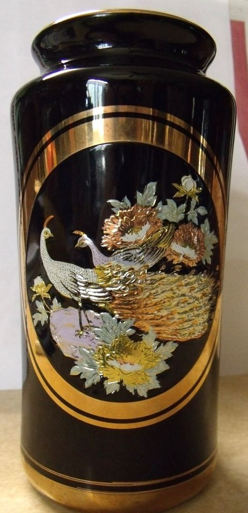 The Art Of Chokin Black Vase And Plate Set 24kt Gold W