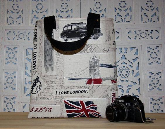 england postcards prints large diaper bag/ english by leyyabags, $40.00