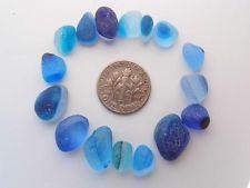 16 Multi XS-S/M brights of Blue Turquoise Aqua JQ RARE Genuine English Sea Glass