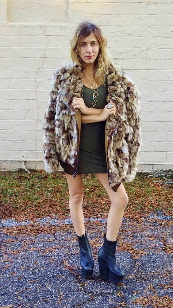 oversize fur coat coyote fur coat cozy by AlexAndAftonVintedge