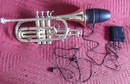 Trumpet Mute with Headphones - don't disturb the neighbours, or any trumpet mute would do