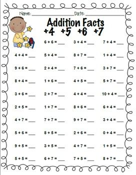 Addition Facts Practice: +0 through +10 and What Makes 10? | Facts ...