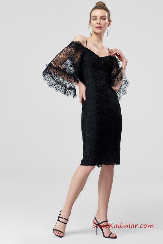 2019 Siyah Dantel Elbise Modelleri Siyah Dizboyu Uzun Kol Genis V Yaka Dantel Elbise Siyah Dantel Elbiseler Elbise Modelleri