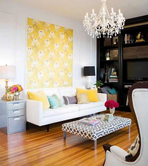 Love! The pop of yellow and the lovely white streamlines the exciting graphic look with a soothing home-look. :