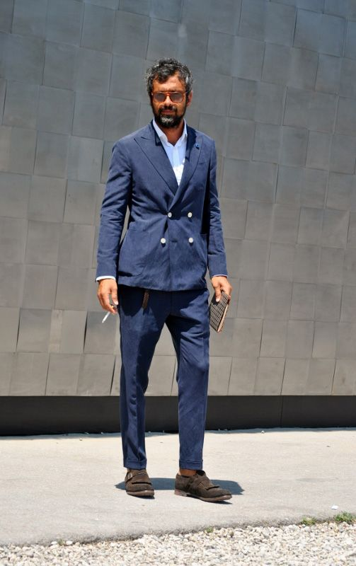Double-breasted Navy Suit no tie | Shoes Desing | Pinterest