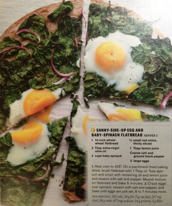 Sunny side up spinach flatbread. | eats | Pinterest | Spinach