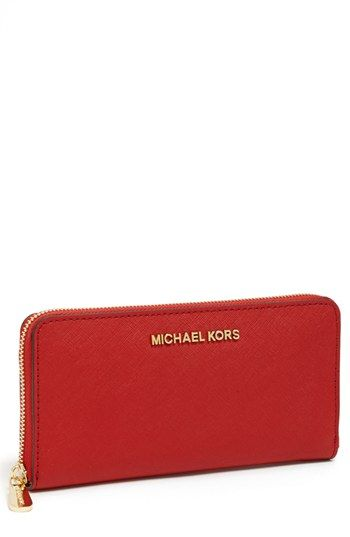 MICHAEL Michael Kors 'Jet Set' Saffiano Zip Around Wallet available at #Nordstrom $138 Red