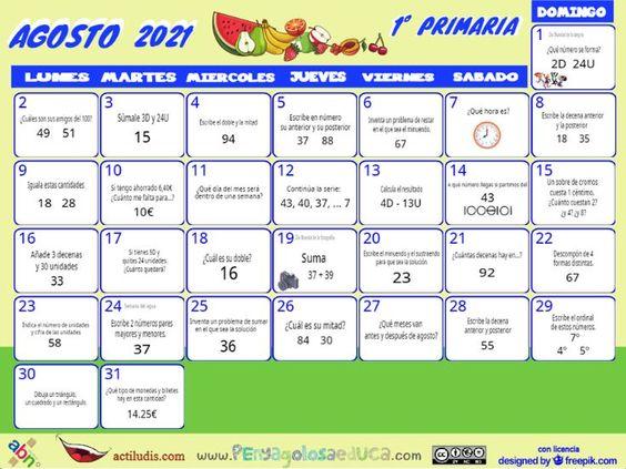 Calendario Primero ABN – Agosto 2021