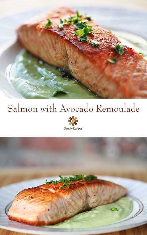 "Pan seared salmon fillets with an avocado ""remoulade"" sauce. EASY. ..."
