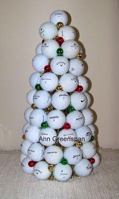 Golf Ball Christmas Tree In 2020 Golf Ball Golf Crafts Golf Ball Gift