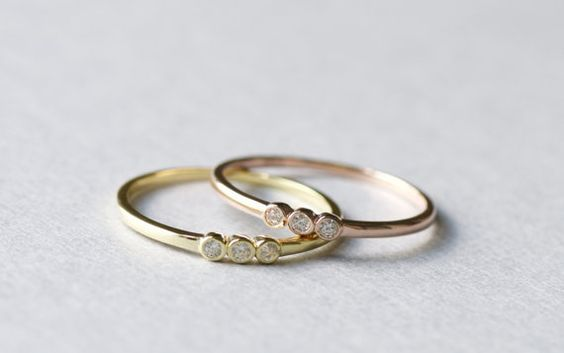 Gold Plated Dainty Trio Bezel Ring Minimalist Ring by roseandchoc