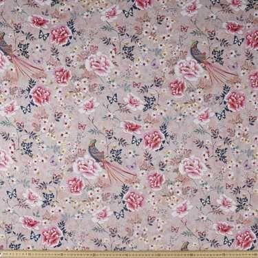 Oriental Printed Cotton Sateen Pink 127 cm | Spotlight Australia