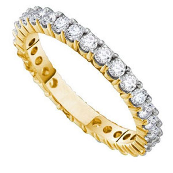 1/2 Carat (SI-GH) Diamond 14K Yellow Gold Eternity Wedding Anniversary Ring