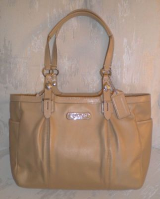Leather Coach Gallery Tote, camel F15147  $328