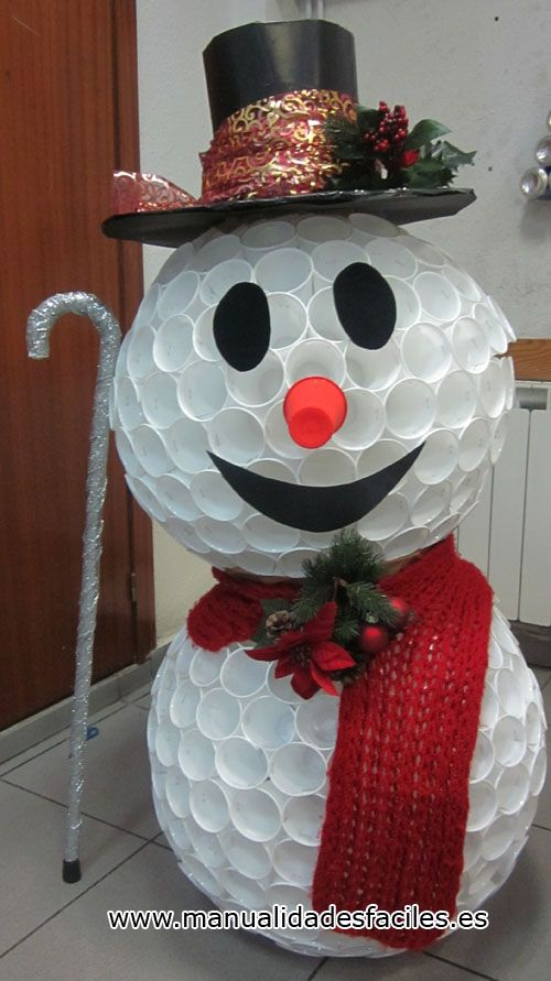Snowman made from plastic cups with directions christmas for Snowman made out of cups