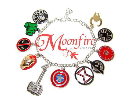 This bracelet is a tribute to the Avengers fandom! Great for any Avengers superhero fan! The silver-plated bracelet measures 7 inches. It comes with a toggle and clasp.