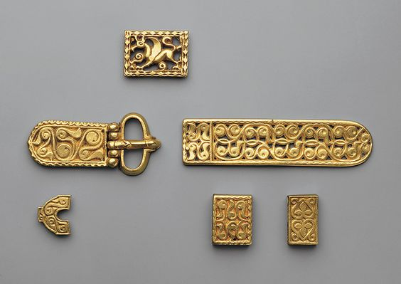 Avar Treasure  Belt Fittings, 700s  Avar; Found in Vrap, eastern Albania  Gold