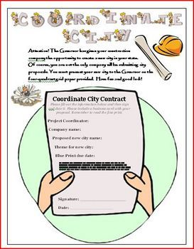 This is a creative math lesson plan that has students create their own Coordinate City using coordinates, a scale, four quadrants, x and y axis skills (to name a few). Students get to pick a name and theme for their city that includes: buildings, streets, a park, and an attraction. Included are six pages: a contract sheet, a direction sheet, a rubric for assessment, a vocabulary sheet with definitions, a four-quadrant grid, and a teacher tips page. This is one of Wise Guys best sellers! $4