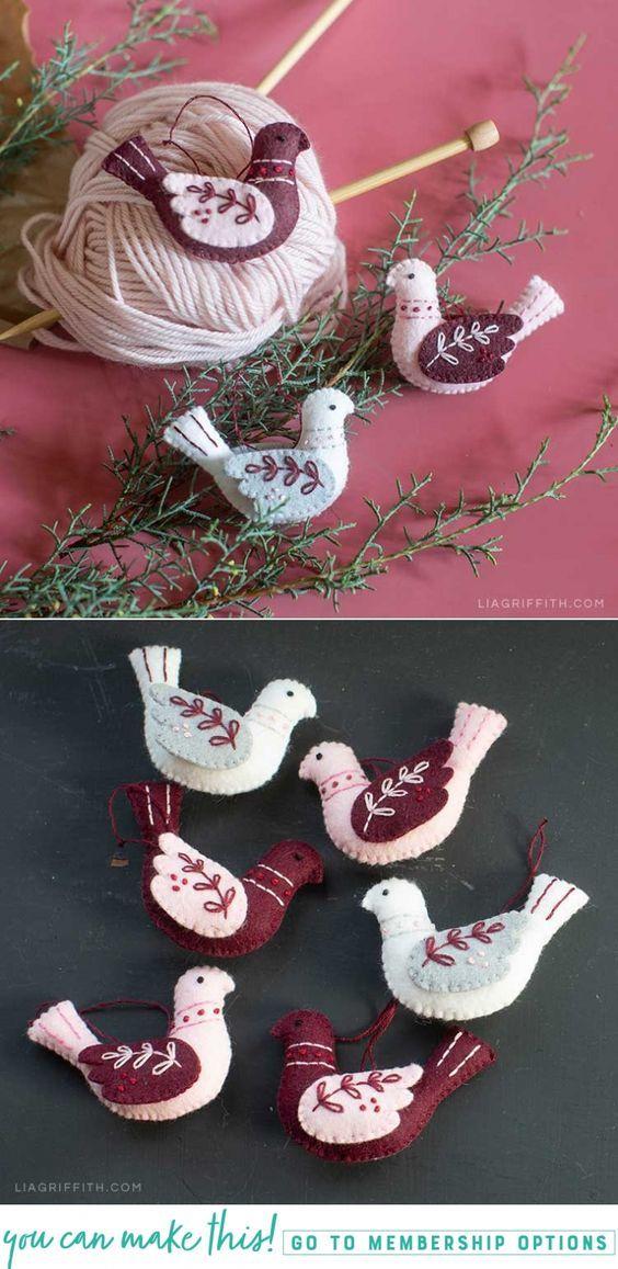 Embroidered Felt Bird Ornaments For Your Holiday Tree Felt Birds