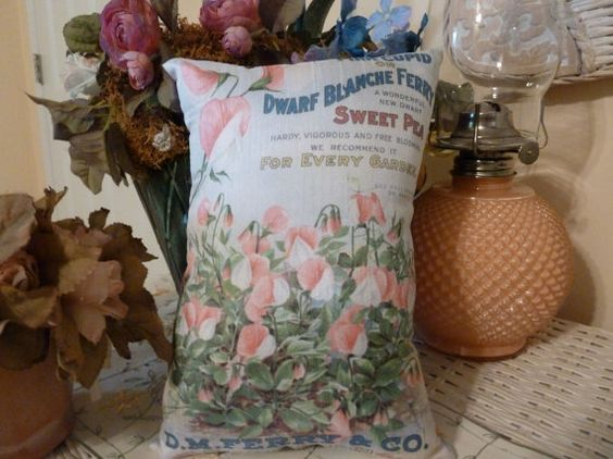 Seed Packet Pillow from Vintage Packet 10 x 8 by Maisonvogue, $15.00