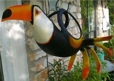 Pájaros colgantes hechos con NEUMÁTICOS de automóvil - Curiosas IDEAS