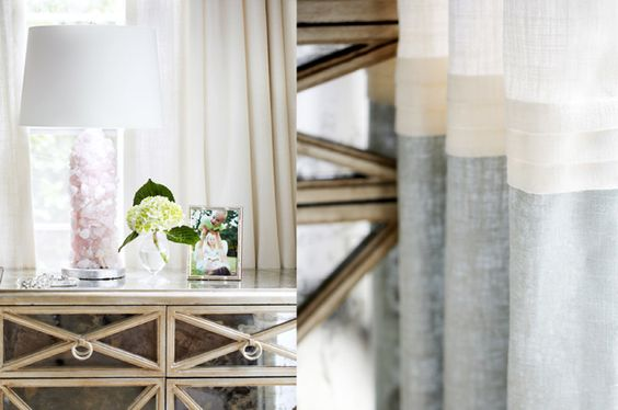 House of Turquoise: Kara Cox Interiors....love the side table and drapes.