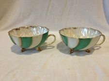 Green & White Striped Opalescent Footed Tea Cups Pair Set Gold Accent Trim