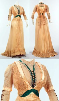 Silk dress, 1909-1911, by Mrs. Dunstan, a well-known New York dressmaker. This high-style dress is a particularly good example of her work and exhibits some of the typical techniques used in that period, such as the bolero-and-vestee configuration of bodice and over-the-shoulder panels.