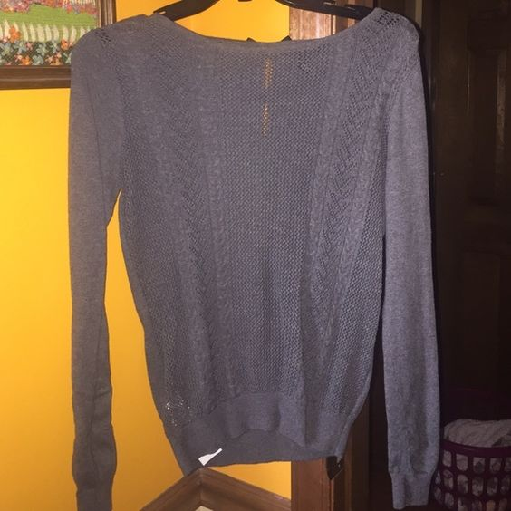 Grey Sweater/Bow Back Cute gray sweater with black bows on the back, perfect condition. MNG Tops