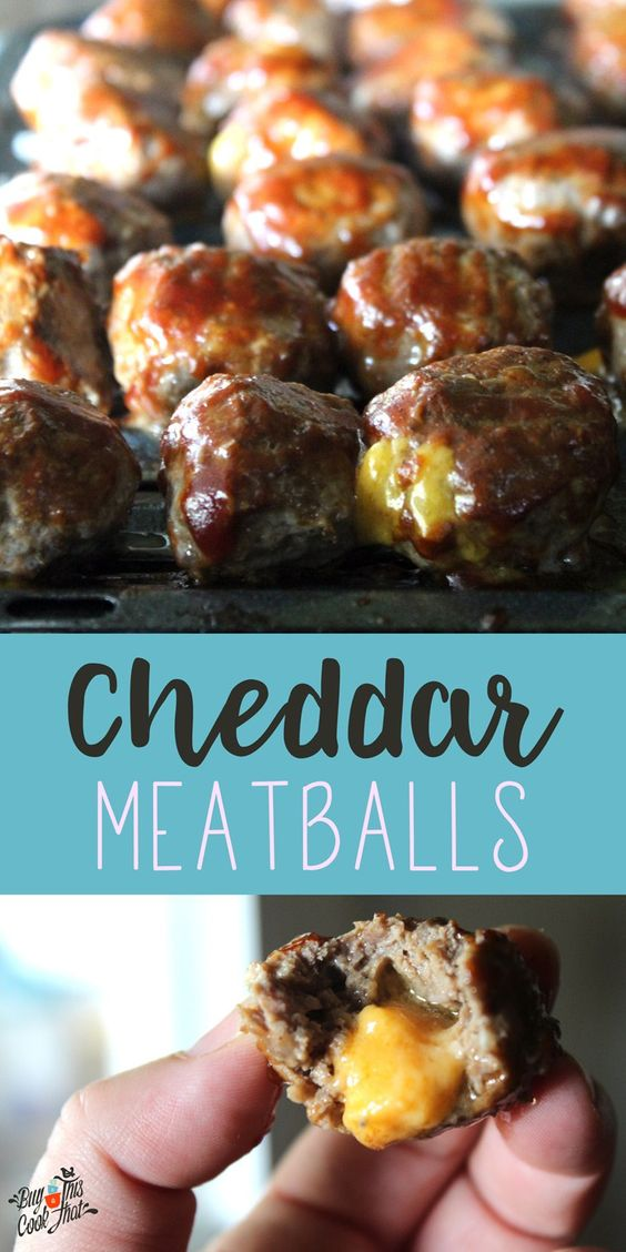 Cheddar Meatballs. My 2 favorite things combined in a tailgate appetizer! Lean beef stuffed with cheddar cheese, basted with BBQ sauce and baked. Score. buythiscookthat.com/cheddar-meatballs/ #tailgate #party #meatball #recipe