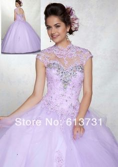 2014 New Arrival Elegant Sweetheart Light Purple Appliques Lace Quinceanera Dresses Ball Gown With Short Sleeves 88042