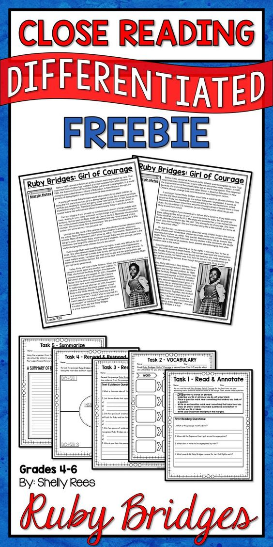 ruby bridges close reading passage and mini unit free this ruby bridges close reading packet. Black Bedroom Furniture Sets. Home Design Ideas