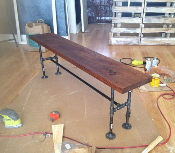 Industrial Bench Reclaimed wood bench Steel by oursolecreations