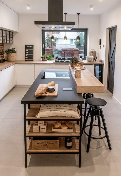 Drewniana Wyspa Kuchenna Z Czarnym Blatem Lovingit Pl Kitchen Design Industrial Style Kitchen Kitchen Room Design