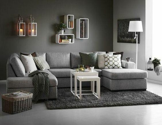 déco salon gris, couleur peinture salon gris, canapé, tapis et sol gris avec quelques accents blancs, solution design contemporain