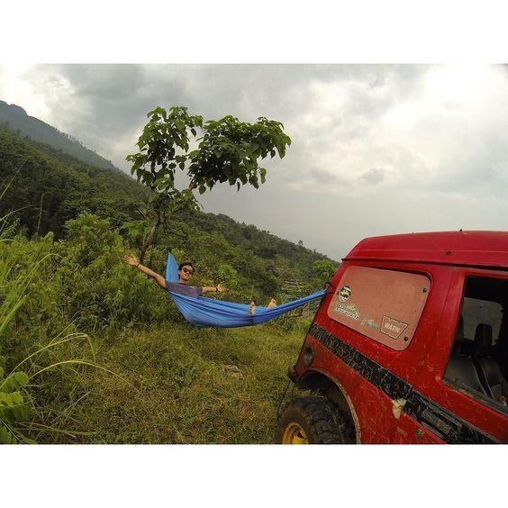 hammock time.  #hammock #gopro #goprohero4 #hero4silver #hammocklife #suzuki #jimny by @bastianilham