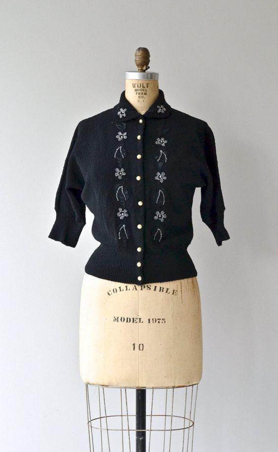 Koldin beaded cardigan 1950s wool sweater black by DearGolden