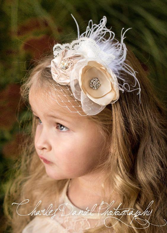 The Penelope Headband - Vintage Satin Rosette Flower Headband, with pearls, rhinestones, birdcage netting, feather, lace embellishments on Etsy, $22.95