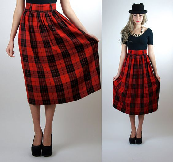Red Plaid Skirt Womens