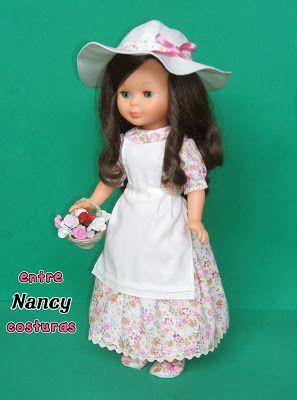 Modelo campestre en flores rosas. Nancy entre costuras.