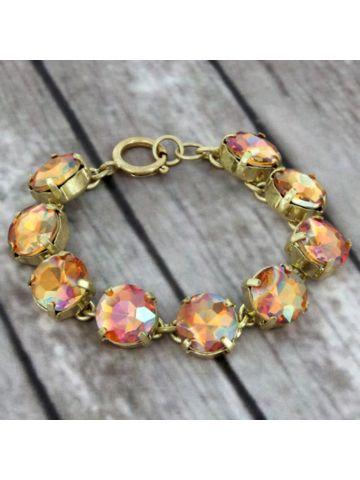 Iridescent Coral Crystal Goldtone Bracelet #preppy #crystalbracelet #designerinspired