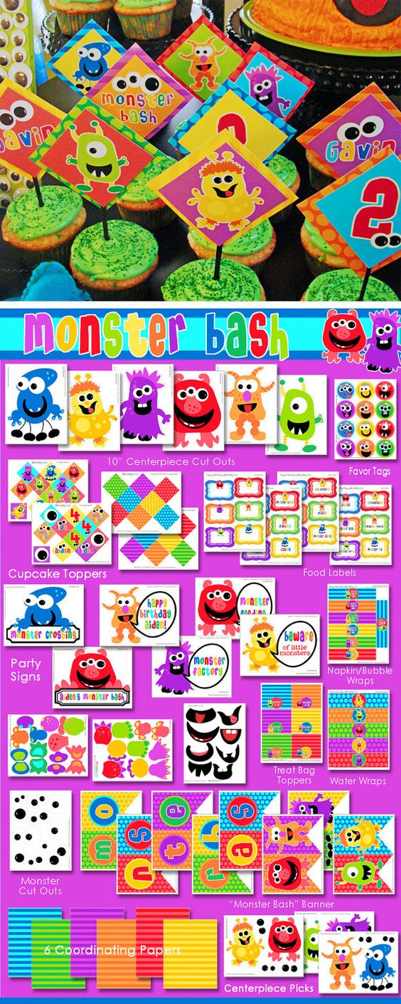 Monster Party Birthday - Monster Bash - HUGE Printable Party Set by Amanda's Parties TO GO. $29.00, via Etsy.